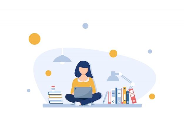Freelance concept, meisje freelancer op buiten werken met laptop met draadloze verbinding