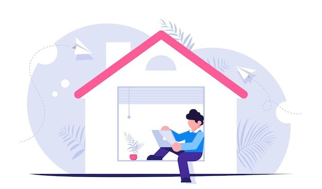 Freelance concept. mensen werken vanuit huis tijdens quarantaine. medewerker op afstand.