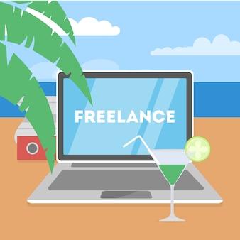 Freelance concept. op afstand werken op de laptop via internet. werken tijdens het reizen. zomervakantie op het oceaanstrand. illustratie