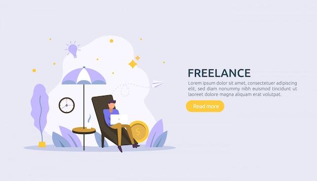 Freelance concept remote werken