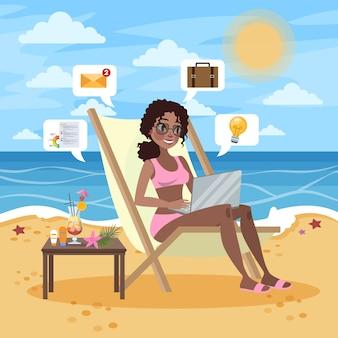 Freelance concept. vrouw werkt op afstand op de laptopcomputer via internet. werken tijdens het reizen. zomervakantie op het strand. illustratie