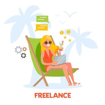 Freelance concept. vrouw zittend op de chaise lounge