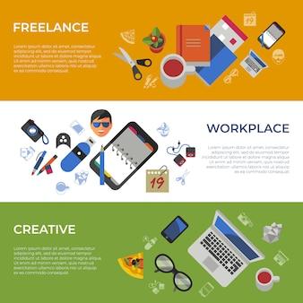 Freelance creatieve werkplek pictogrammen instellen