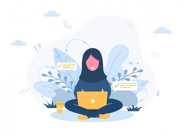 Freelance dames. arabisch meisje in hijab met laptop zittend op gazon in park. concept illustratie voor buitenshuis werken, studeren, communicatie, gezonde levensstijl. illustratie in vlakke stijl.
