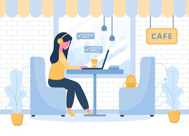 Freelance dames. meisje die met laptop in hoofdtelefoons bij een lijst in koffie zitten. concept illustratie voor studeren, onderwijs, thuiswerken, gezonde levensstijl. illustratie in vlakke stijl.