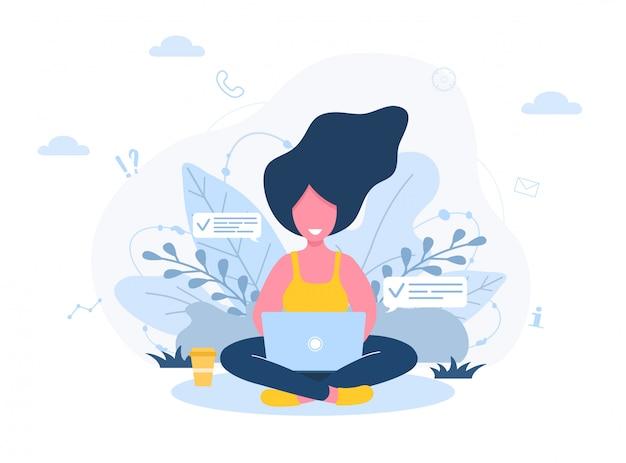 Freelance dames. meisje met laptop zittend op gazon in park. concept illustratie voor buitenshuis werken, studeren, communicatie, gezonde levensstijl. illustratie in vlakke stijl.