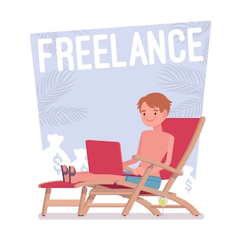 Freelance gelukkige man
