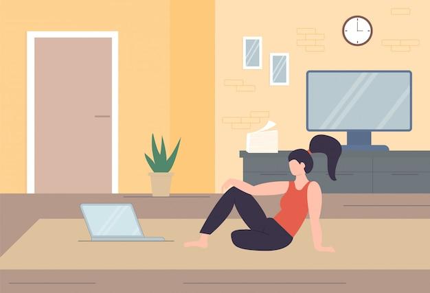 Freelance karakter thuiswerken, thuiswerken, zelfstandigen, kantoor aan huis, thuiswerken, vrijheid conceptuele illustratie.