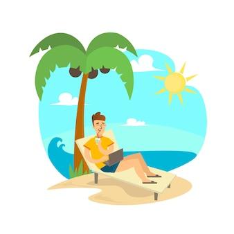 Freelance man op strand met computer.