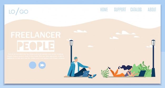 Freelance mensen platte vector websjabloon voor spandoek