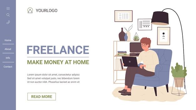 Freelance, mensen verdienen thuis websitemalplaatje met freelancer jongeman-karakter