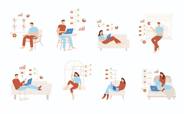 Freelance mensen werken onder comfortabele omstandigheden. mensen organiseren met succes hun werktijden.
