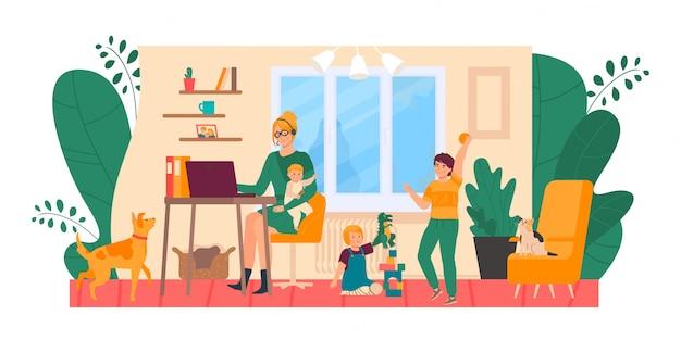 Freelance moeder thuis, benadrukt met kinderen illustratie. moe en geërgerd vrouw achter computer, kinderen en huisdieren maken rotzooi
