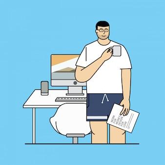 Freelance ontwerper karakter vectorillustratie