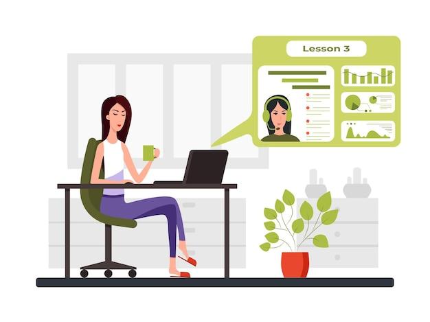 Freelance ontwikkelaar die naar de laptop kijkt en praat met de leraar in een videoconferentie kleurvector