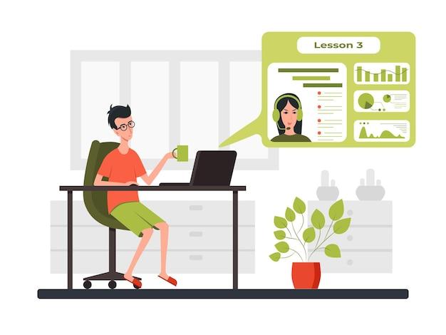 Freelance ontwikkelaar die naar de laptop kijkt en praat met de leraar in videoconferentie. kleur cartoon vectorillustratie. voor online communicatie en virtueel werkoverleg. blijf thuis.