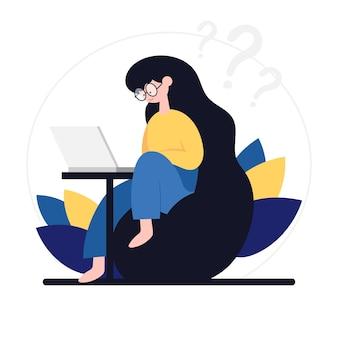 Freelance ontwikkelaar die naar de laptop kijkt voor online communicatie en virtuele werkvergaderingen