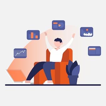 Freelance ontwikkelaar voltooide alle taken en ging naar superieure grafieken van online communicatie op het werk