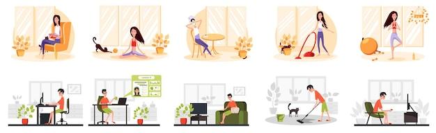 Freelance ontwikkelaars leest boek yoga online conferenties kleur vector cartoon icoon blijf thuis