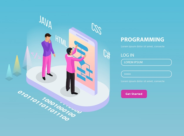 Freelance programmeren isometrische samenstelling met twee programmeurs op het werk en inloggen wachtwoord lijnen illustratie