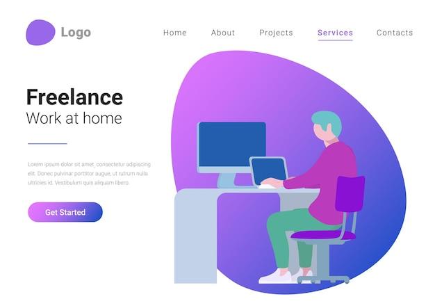 Freelance telewerken en thuiswerken in vlakke stijl landingspagina banner vector illustratie concept