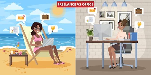 Freelance versus kantoorwerkconcept. vrouw zittend op de chaise lounge en op afstand werken. jonge bedrijfsvrouw die in bureau werkt. geïsoleerde platte vectorillustratie