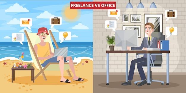 Freelance versus kantoorwerkconcept.