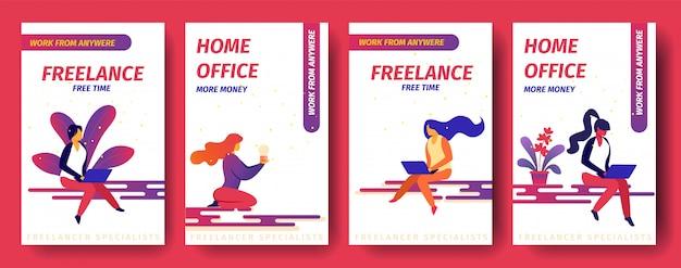 Freelance, vrije tijd, thuiskantoor meer geld, overal werken mobiele app-pagina onboard screen set voor website.