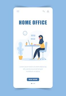 Freelance vrouw. bestemmingspaginasjabloon. arabisch meisje in koptelefoon met laptop zittend aan een tafel. mobiele achtergrond. concept illustratie voor studeren, online onderwijs, werk vanuit huis.