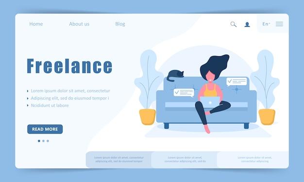 Freelance vrouw. meisje met laptop zittend op de bank. bestemmingspaginasjabloon. concept illustratie voor werken, studeren, onderwijs, thuiswerken, gezonde levensstijl.