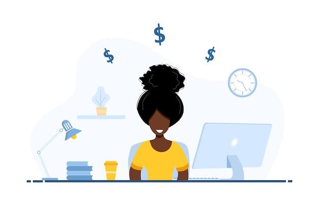 Freelance vrouwen. afrikaans meisje in hoofdtelefoons met laptop zittend aan een tafel
