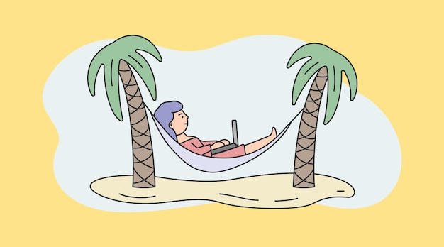 Freelance werk, brainstorm en zelfstandige concept. drukke freelance jonge vrouw of freelancer werkt op laptop liggend in hangmat.