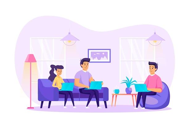 Freelance werk vanuit het platte ontwerpconcept van het thuiskantoor met de scène van mensenpersonages