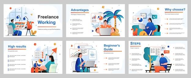 Freelance werkconcept voor presentatiediasjabloon ontwerpers analisten programmeurs werken