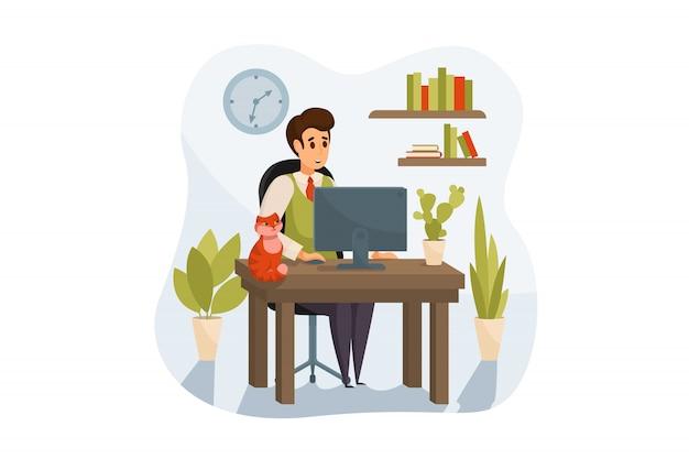 Freelance, werken op afstand, bedrijfsconcept
