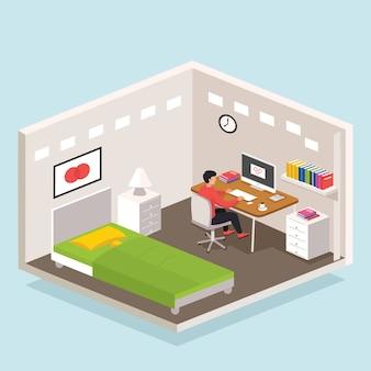 Freelance werknemerzitting bij bureau en het werk aan computer bij slaapkamer
