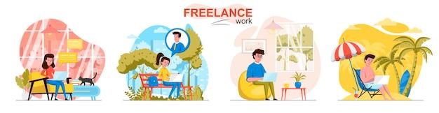 Freelance werkscènes in vlakke stijl