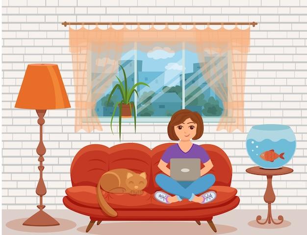 Freelancen vrouw die vanuit huis werkt