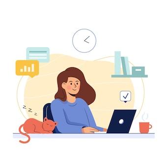 Freelancer die bij haar thuis aan laptop werkt