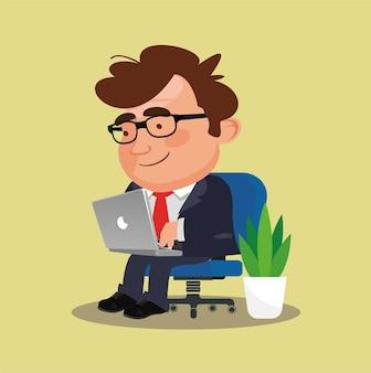 Freelancer die op afstand werkt vanaf zijn laptop