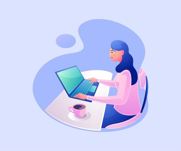 Freelancer die op laptop thuis werkt