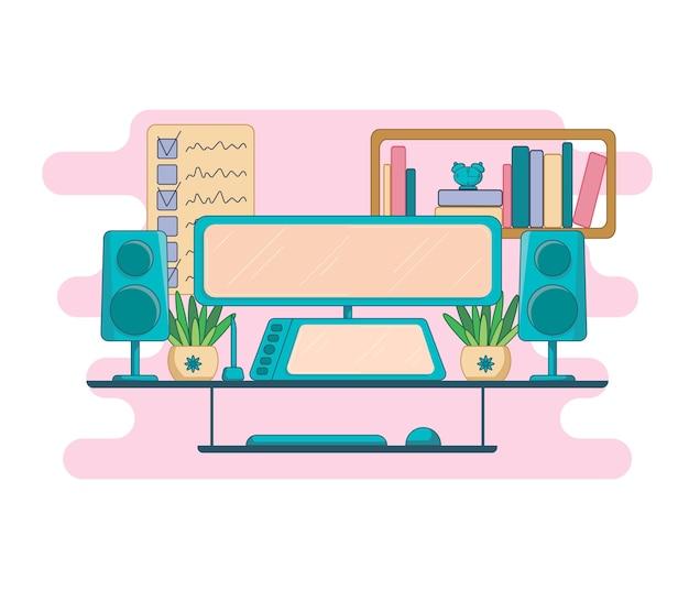 Freelancer lege thuiswerkplek illustratie