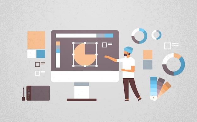 Freelancer man ontwerper werkt aan grafisch ontwerp