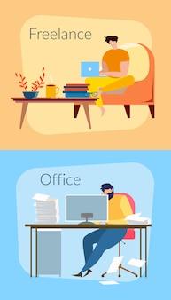 Freelancer man thuis met laptop