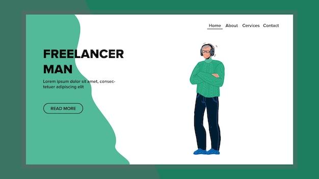 Freelancer man verblijft met gekruiste armen vector. freelancer man met bril luisteren muziek in koptelefoon. karakter zakenman met koptelefoon gadget web platte cartoon afbeelding