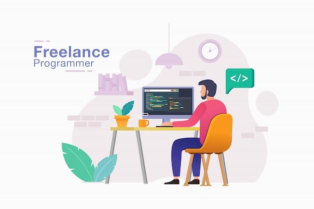 Freelancer programmeur werkt aan zijn project op afstand