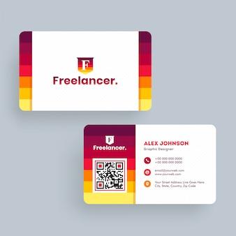 Freelancer visitekaartje of visitekaartje sjabloonontwerp aan de voorkant en achterkant