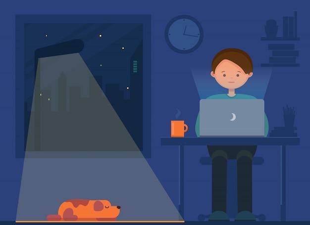 Freelancer werkt 's nachts. afstandswerk. jonge man en hond zitten in de kamer met laptop, surfen op internet, netwerken. programmeur, ontwerper, schrijver thuiswerkend.