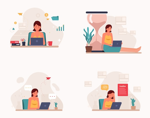 Freelancer work from home set flat design