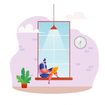 Freelancer zit op de vensterbank en werkt vanuit huis te typen op de laptop. afstandswerk